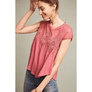 Meadow Rue Medallion Lace Pink Mesh Top